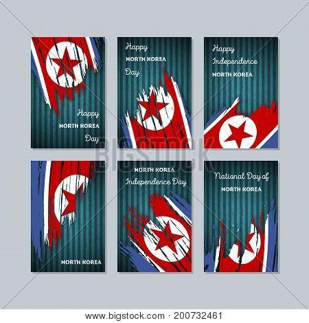 North Korea Patriotic Cards For National Day. Expressive Brush Stroke In National Flag Colors On Dar