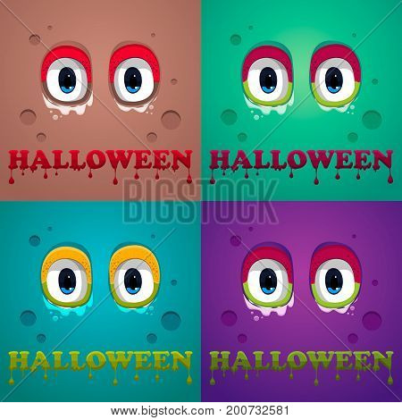 Halloween Background. Flat Halloween Monster Icon. Vector, Eps10.