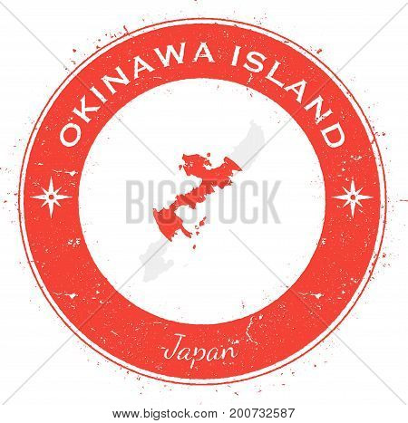 Okinawa Island Circular Patriotic Badge. Grunge Rubber Stamp With Island Flag, Map And Name Written