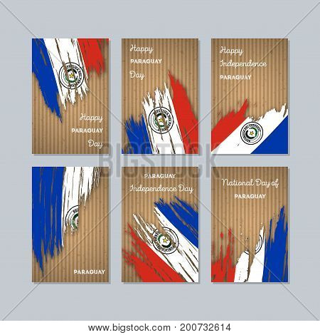 Paraguay Patriotic Cards For National Day. Expressive Brush Stroke In National Flag Colors On Kraft