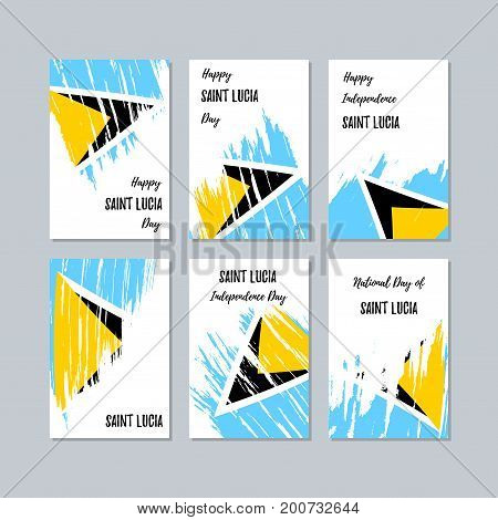 Saint Lucia Patriotic Cards For National Day. Expressive Brush Stroke In National Flag Colors On Whi