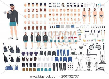 Sports guy character constructor. Bodybuilder man creation set. Different postures, hairstyle, face, legs, hands, equipment, clothes collection. Vector cartoon illustration Front side back view
