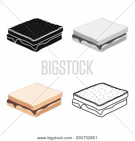 Tasty food, a sandwich with chocolate.Food single icon in cartoon style vector symbol stock illustration .