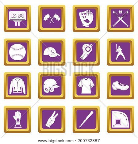 Baseball icons set in purple color isolated vector illustration for web and any design