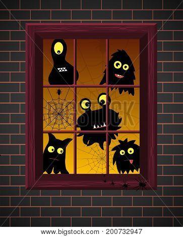 Monster Silhouettes. Window. Vector Illustration. Monster Silhouettes On Window With Evening Light,b