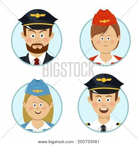 Pilots and air hostesses business professional people avatars sign flat icon over white