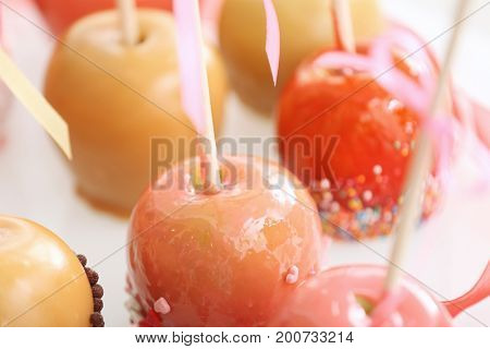 Delicious candy apples, closeup