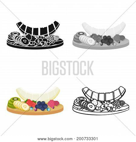 A set of various delicious fruits. Fruit single icon in cartoon style vector symbol stock illustration .