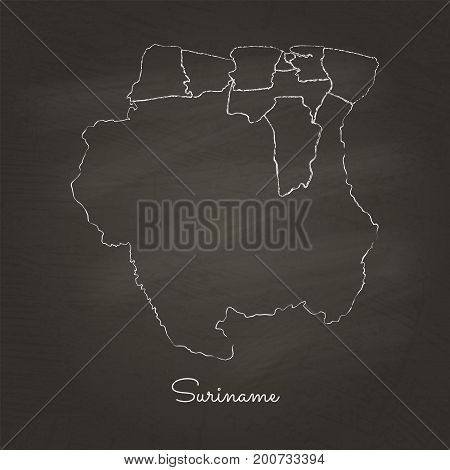 Suriname Region Map: Hand Drawn With White Chalk On School Blackboard Texture. Detailed Map Of Surin