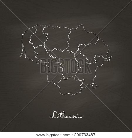 Lithuania Region Map: Hand Drawn With White Chalk On School Blackboard Texture. Detailed Map Of Lith