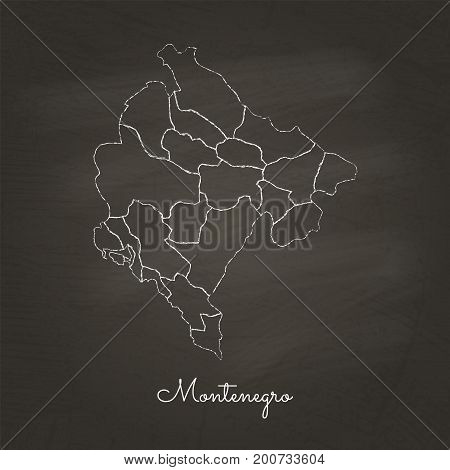 Montenegro Region Map: Hand Drawn With White Chalk On School Blackboard Texture. Detailed Map Of Mon