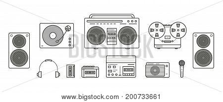 Sound systems retro collection. Portable player, headphones, cassette player, stereo system, speakers, record player, tape recorder, mic, radio, vinyl player Contour vector line art illustration set