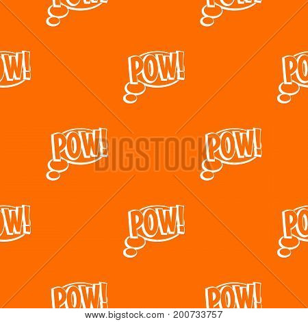 Pow, speech bubble pattern repeat seamless in orange color for any design. Vector geometric illustration