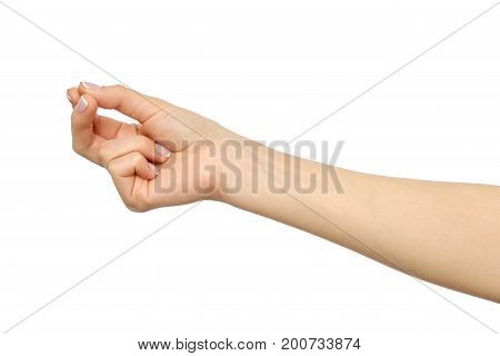 Female Caucasian Copyspace Hand Gesture Of Holding Something