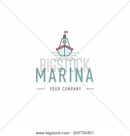 Vector marina, steering wheel logo template, abstract business icon. Ship and waves. Steamboat. Sailboat. Fishing