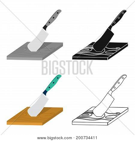 Board and cleaver for food processing. Food and cooking single icon in cartoon style vector symbol stock illustration .