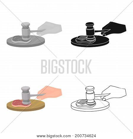 Cooking meat. Eating and cooking single icon in cartoon style vector symbol stock illustration .