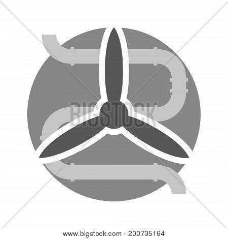 Vector ventilation minimal gray illustration or symbol