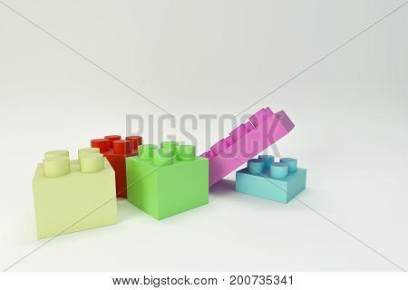 3d illustration of toy bricks isolated on white background