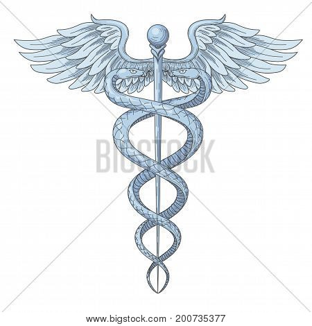 Cadeus Medical medecine pharmacy doctor ancient high detailed symbol. Vector hand drawn linear two snakes with wings sword background. retro culture hospital old element. Blue navy Tattoo design.