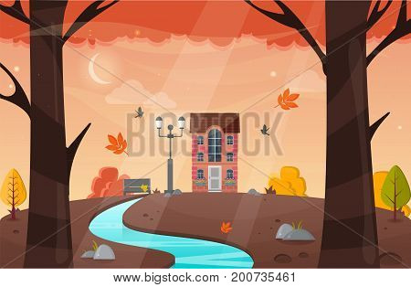 Autumn Landscape. Vector Illustration. Nature Landscape With Yellow Trees.