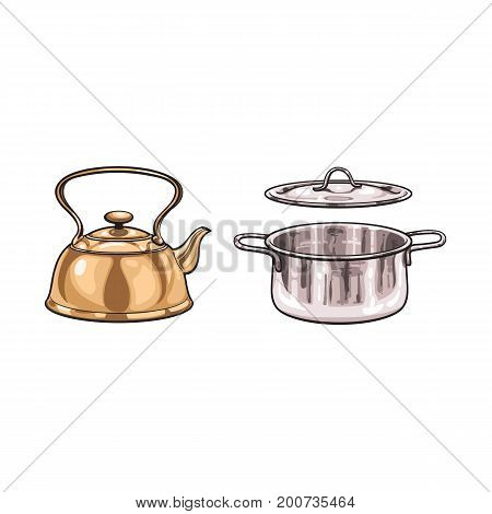 vector metal chrome cooking pot, bronze kettle teapot sketch cartoon set. Isolated illustration on a white background. Kitchenware equipment utensil objects concept