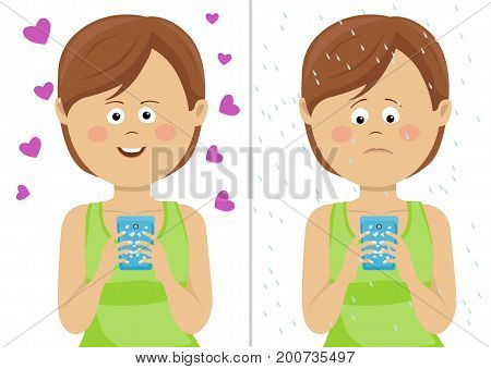 Different expressions of young woman with smartphone. Happy and unhappy comparison over white