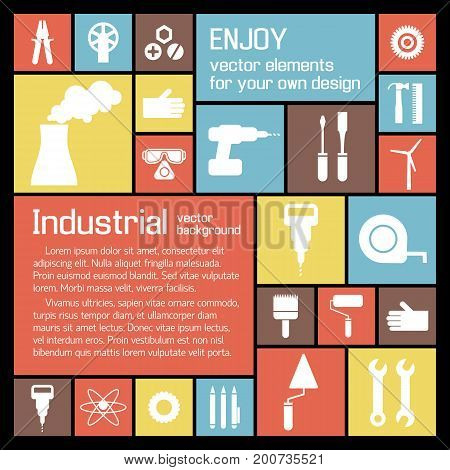 Industrial tools background with building manufacturing white icons and equipment on colorful squares vector illustration