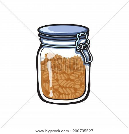 vector big glass jar with swing top lid sketch cartoon isolated illustration on a white background. Kitchenware equipment utensil objects concept
