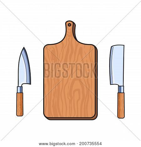 vector wooden sketch cartoon empty kitchen cutting board, meat butcher cleaver, carving knifes set. Isolated illustration on a white background. Kitchenware equipment utensil objects concept