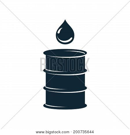 vector oil fuel barrel oil drop simple flat icon pictogram isolated on a white background. Gas oil fuel, energy power industry symbol, sign