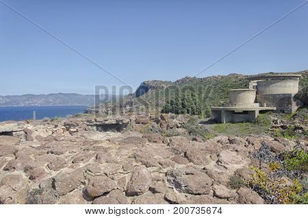 View of World War II bunkers in Sardinia