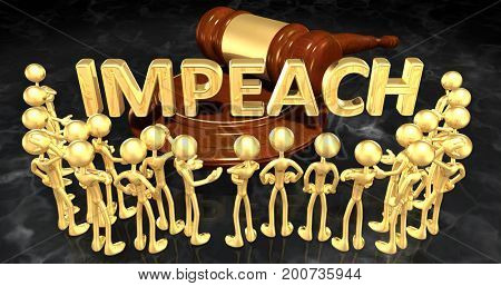 Impeach Legal Concept The Original 3D Characters Illustration