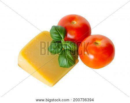 Fresh parmesan cheese basil and tomatoes isolated on white background