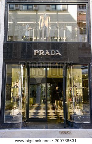 Showcases Of Prada Fashion Clothes Store At Lugano On Switzerland