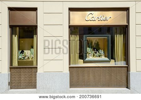 Showcases Of Cartier Watchmaker Store At Lugano On Switzerland