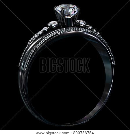 Black gold engagement ring with diamond gem. Luxury dramatische edel jewellery bijouterie with rhodium or ruthenium coating with gemstone. Light flare on metal surface. 3D rendering. Family values.