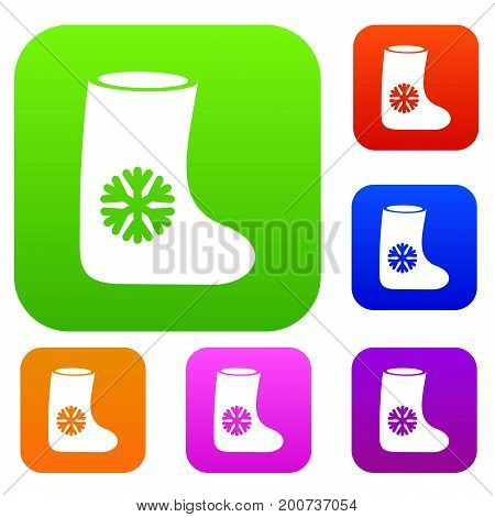 Felt boots set icon in different colors isolated vector illustration. Premium collection