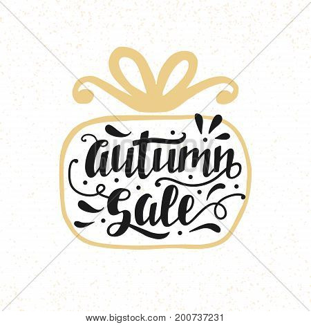 Autumn Sale banner with hand lettering, inscription in gift box silhouette. Advertisement placard, promo, flyer. Promotional design for online store, web site. Modern calligraphy