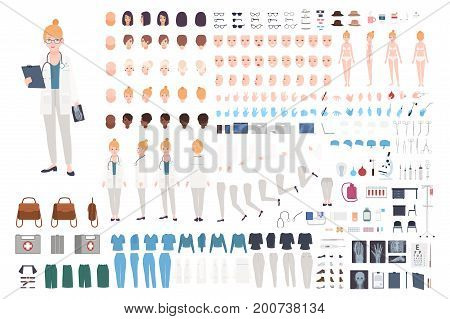 Doctor character constructor. Female doctor creation set. Different postures, hairstyle, face, legs, hands, accessories, clothes collection. Vector cartoon illustration Woman front side back view