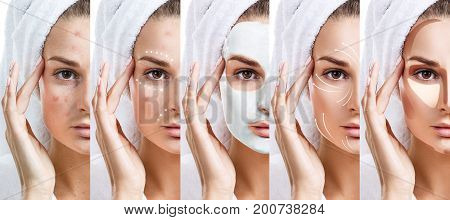 Beautiful woman step by step improves her skin condition. Skin care concept.