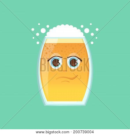 Character glass with beer foam and bubbles. Emotional icon. Narcissist narcissist smirk handsome. To the day of the Oktoberfest. Stickers for messenger and other communications.