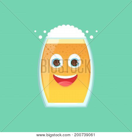 Character glass with beer foam and bubbles. Emotional icon. Sincerely happy smiling. Oktoberfest. Stickers for messenger and other communications. Vector illustration in a cartoon style.