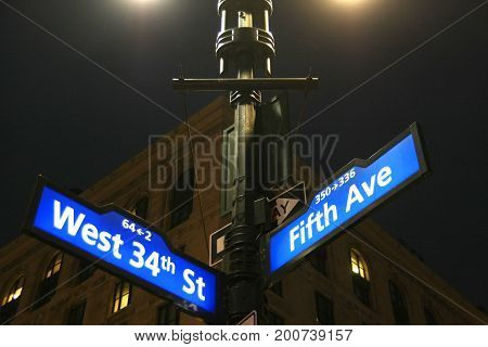 New York City - Road signs in Manhattan