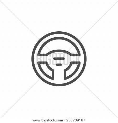 Steering wheel line icon isolated on white. Vector illustration