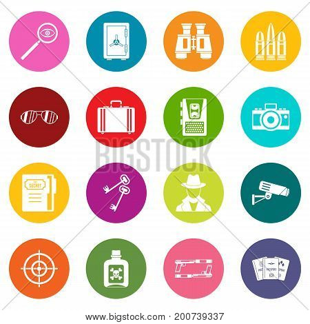 Spy tools icons many colors set isolated on white for digital marketing