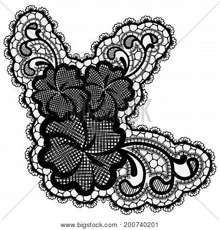 Luxury single lace flower isolated on light background. Vector illustration.