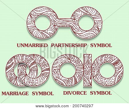 Set of symbols of Partnership. Unmarried Divorce and Marriage Sign with a pattern in tribal Indian style. Vector illustration