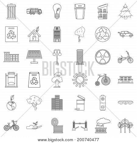 Eco city icons set. Outline style of 36 eco city vector icons for web isolated on white background