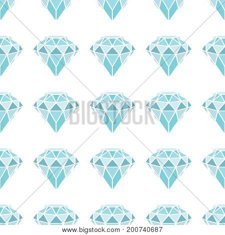 Seamless pattern of geometric blue diamonds on white background. Trendy hipster crystals design. Vector illustration.